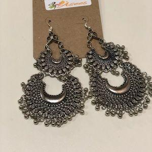 Double jhumka silver earrings